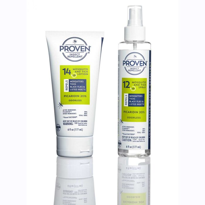 odorless proven mosquito repellent spay and lotion bottles